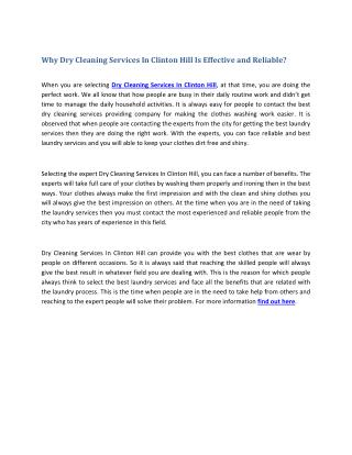 Why Dry Cleaning Services In Clinton Hill Is Effective and Reliable?
