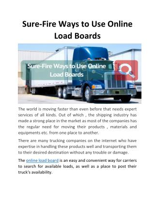 Sure-Fire Ways to Use Online Load Boards