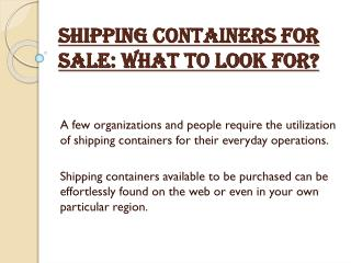 Shipping Containers for Sale: What to Look For?