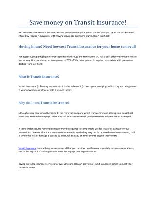 Save money on Transit Insurance