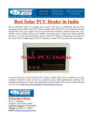 Best Solar PCU Dealer in India