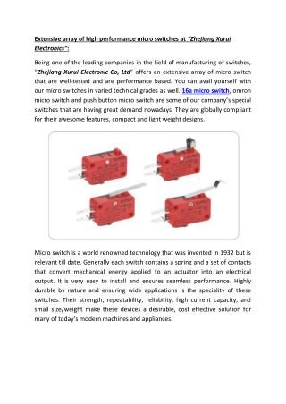"Extensive array of high performance micro switches at ""Zhejiang Xurui Electronics"""