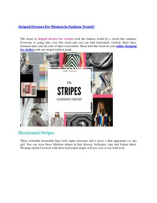 Striped Dresses For Women In Fashion Trend!!