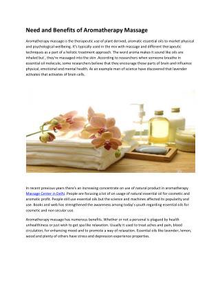 Need and Benefits of Aromatherapy Massage