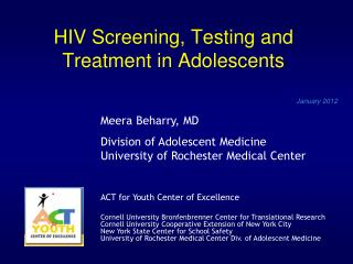 HIV Screening, Testing and Treatment in Adolescents