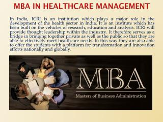MBA in Healthcare Management For Brighter Future