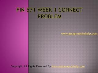 FIN 571 Week 1 Connect Problem
