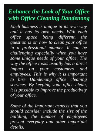 Enhance the Look of Your Office with Office Cleaning Dandenong