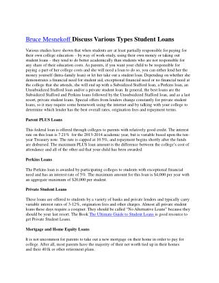 Bruce Mesnekoff Discuss Various Types Student Loans