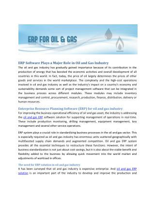 ERP software plays a major role in Oil & Gas industry