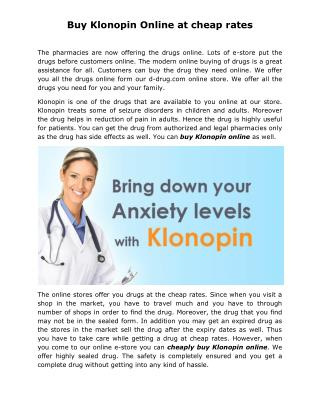 Buy Klonopin Online at cheap rates