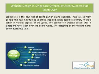 Website Design in Singapore Offered By Astor Success Has Taken Over
