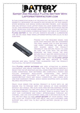 Safest And Reliable Fujitsu Battery With Laptopbatteryfactory