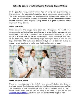 What to consider while Buying Generic Drugs Online