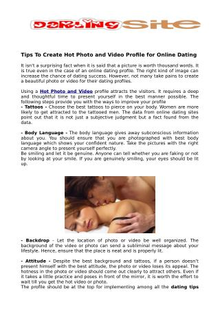 Tips To Create Hot Photo and Video Profile for Online Dating