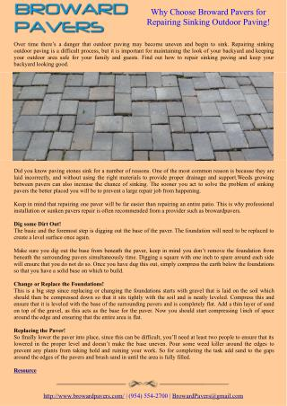 Why Choose Broward Pavers for Repairing Sinking Outdoor Paving!