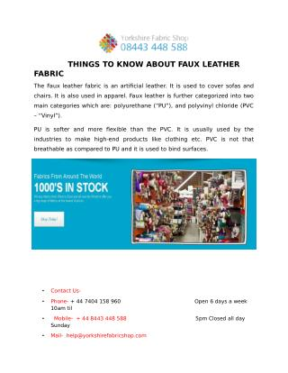 THINGS TO KNOW ABOUT FAUX LEATHER FABRIC