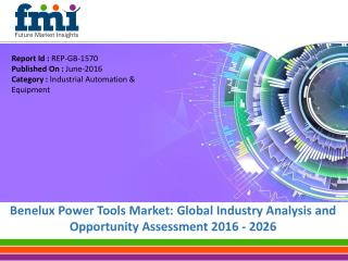 Benelux Power Tools Market Will hit at a CAGR of 3.9% from 2016 to 2026