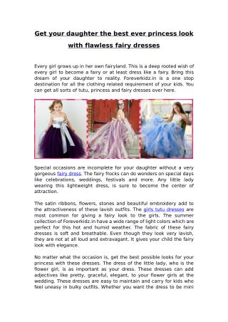 Get your daughter the best ever princess look with flawless fairy dresses