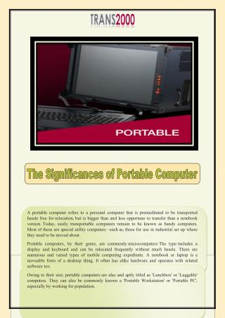 The Significances of Portable Computer