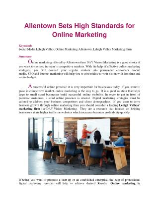 Allentown Sets High Standards for Online Marketing