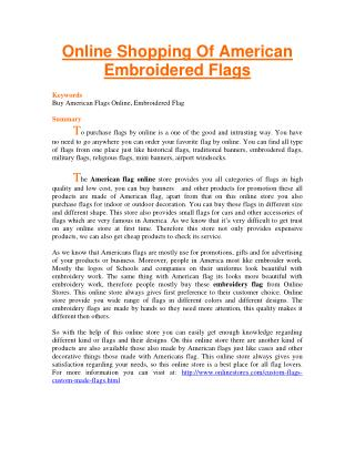 Online Shopping Of American Embroidered Flags