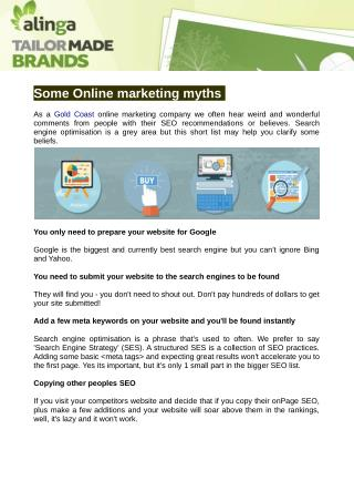 Online marketing myths businesses believe you?