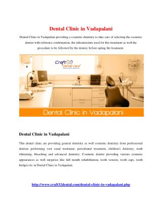 Dental Clinic in Vadapalani