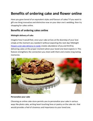 Benefits of ordering cake and flower online