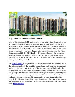 Why Choose The Modern Nirala Estate Project