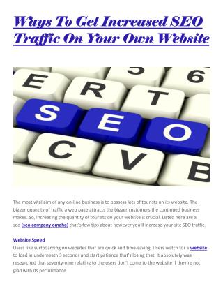 Ways to get increased seo traffic on your own