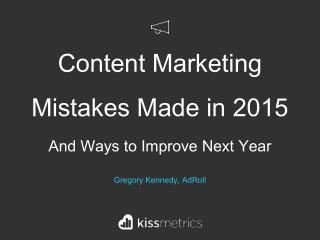 Content Marketing Mistakes Made in 2015