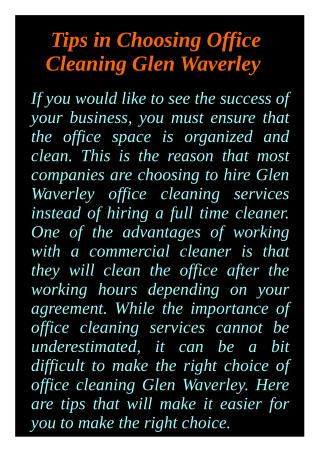 Tips in Choosing Office Cleaning Glen Waverley