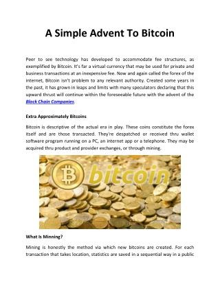 A Simple Advent To Bitcoin