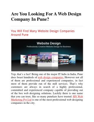 Are You Looking For A Web Design Company In Pune?