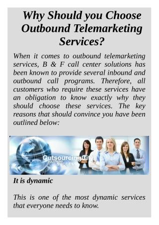 Why Should you Choose Outbound Telemarketing Services?