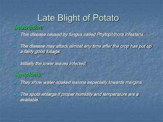 Late Blight of Potato