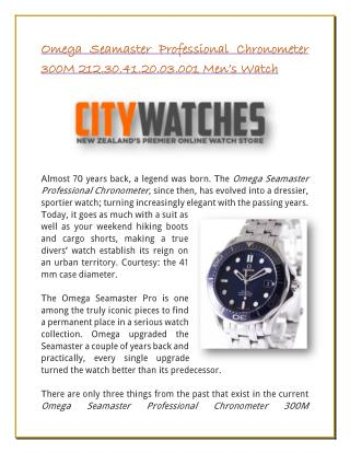 Omega Seamaster Professional Chronometer 300M 212.30.41.20.03.001 Men's Watch
