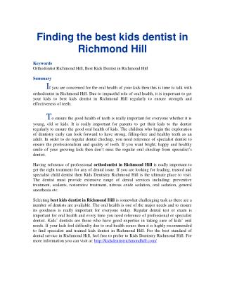 Finding the best kids dentist in Richmond Hill
