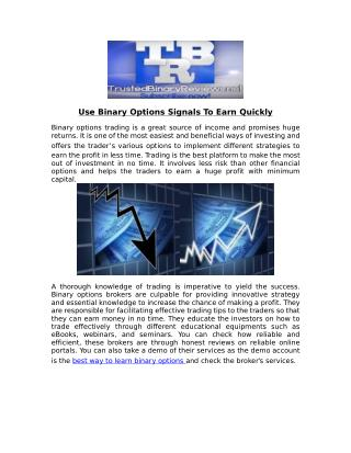 Tips to earn quickly Using Binary Options Signals