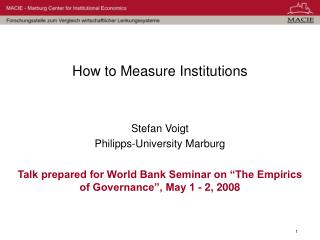 How to Measure Institutions