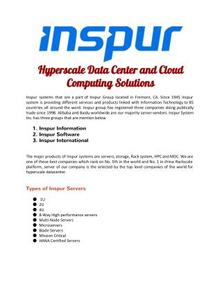 Hyperscale Data Center and Cloud Computing Solutions - Inspur Systems USA