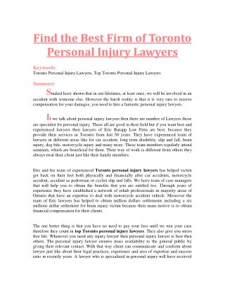 Find the Best Firm of Toronto Personal Injury Lawyers