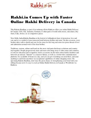 Rakhi.in Comes Up with Faster Online Rakhi Delivery in Canada