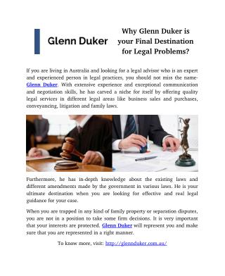 Why Glenn Duker is your final destination for legal problems