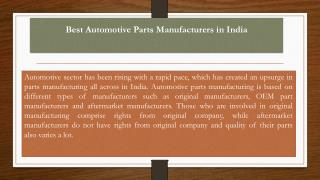 Best Automotive Parts Manufacturers in India