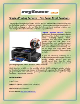 Staples Printing Services – Fins Some Great Solutions
