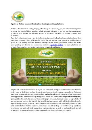 Agricola Online- An excellent online buying & selling platform