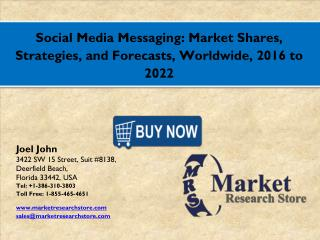 Social Media Messaging Market 2016: Global Industry Size, Share, Growth, Analysis, and Forecasts to 2021