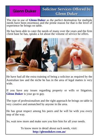 Solicitor Services Offered by Glenn Duker